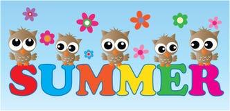 Encabeçamento do verão com corujas e flores Fotos de Stock Royalty Free