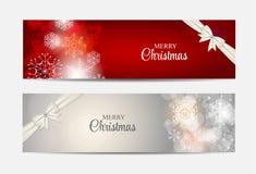 Encabeçamento do Web site dos flocos de neve do Natal e grupo da bandeira Fotografia de Stock Royalty Free