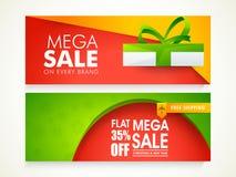 Encabeçamento ou bandeira da Web da venda pelo Natal e o ano novo Fotografia de Stock Royalty Free
