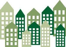 Encabeçamento ou bandeira verde da skyline da cidade Fotos de Stock