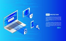 Encabeçamento para o Web site com ícones do portátil e da proteção com cadeado Fotografia de Stock