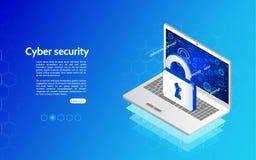 Encabeçamento para o Web site com portátil e protetor da proteção Imagem de Stock Royalty Free