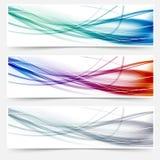 Encabeçamentos da onda ajustados - linhas da olá!-tecnologia do swoosh Imagem de Stock Royalty Free