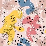 Encabe?amento criativo da arte da garatuja com formas e texturas diferentes collage Fundo abstrato dos desenhos animados do respi ilustração stock