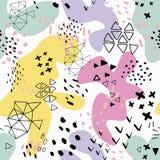 Encabe?amento criativo da arte da garatuja com formas e texturas diferentes collage Fundo abstrato dos desenhos animados do respi ilustração do vetor