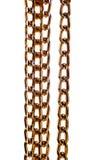 Encadenamiento coloreado de oro del metal aislado en blanco Foto de archivo libre de regalías