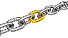 encadenamiento de acero con una conexión del oro ilustración del vector