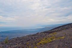 Encadenamiento del camino de los cráteres en la isla grande Hawaii Fotografía de archivo