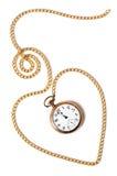 Encadenamiento del corazón con el reloj de bolsillo viejo   Imagen de archivo