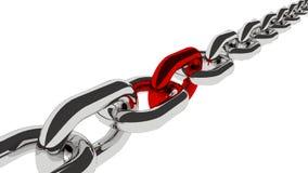 Encadenamiento del metal en el fondo blanco hilo largo con vínculo rojo Imagen de archivo libre de regalías