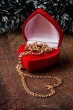 Encadenamiento del oro en rectángulo Foto de archivo libre de regalías