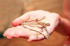 Encadenamiento del oro en una palma Fotos de archivo