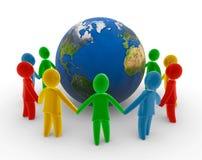 Encadenamiento humano global stock de ilustración