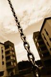 Encadenamiento y bloques de apartamentos Fotografía de archivo