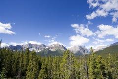 Encadenamiento y cielo de montaña en los rockies Fotografía de archivo