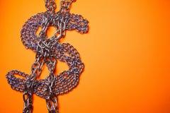 Encadenamientos del dólar imagen de archivo libre de regalías
