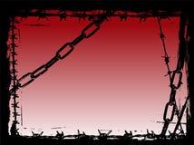 Encadenamientos y frontera negros de Grunge del vector del alambre de púas Fotos de archivo libres de regalías