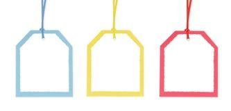 encadre les étiquettes colorées trois de cadeau Images libres de droits