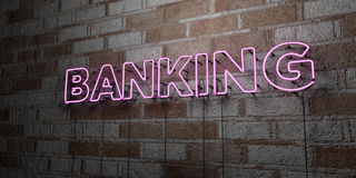ENCAISSER - Enseigne au néon rougeoyant sur le mur de maçonnerie - 3D a rendu l'illustration courante gratuite de redevance Photos stock