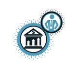 Encaisser le logo conceptuel, symbole unique de vecteur Système bancaire illustration stock