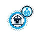 Encaisser le logo conceptuel, symbole unique de vecteur Système bancaire T illustration stock
