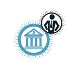 Encaisser le logo conceptuel, symbole unique de vecteur Système bancaire T illustration libre de droits