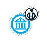 Encaisser le logo conceptuel, symbole unique de vecteur Système bancaire T illustration de vecteur