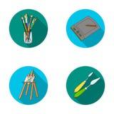 Encaissez avec des brosses, une planche à dessin, un chevalet avec une toile, couteaux de peinture Icônes réglées de collection d Photos libres de droits