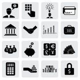 Encaissez et financez les icônes (signes) liées à l'argent, richesse illustration stock
