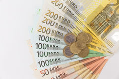 encaissez l'euro corde de note d'argent de l'orientation cent des euro cinq Photographie stock