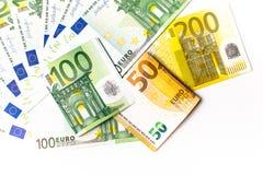 encaissez l'euro corde de note d'argent de l'orientation cent des euro cinq euro fond d'argent liquide Euro billets de banque d'a Photographie stock libre de droits