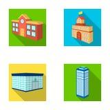 Encaissez le bureau, gratte-ciel, bâtiment d'hôtel de ville, bâtiment d'université Icônes réglées de collection de structure arch Photographie stock