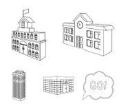 Encaissez le bureau, gratte-ciel, bâtiment d'hôtel de ville, bâtiment d'université Icônes réglées de collection de structure arch Photos stock