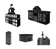 Encaissez le bureau, gratte-ciel, bâtiment d'hôtel de ville, bâtiment d'université Icônes réglées de collection de structure arch Photo stock