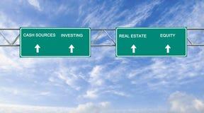 Encaissez les sources, en investissant, vrai rstate, capitaux propres images stock