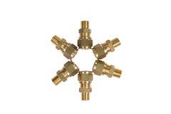 Encaixes para junções do bronze da tubulação de água Imagens de Stock