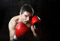 Encaixotamento agressivo do homem do lutador irritado com as luvas de combate vermelhas que levantam na posição do pugilista Imagem de Stock Royalty Free