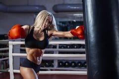Encaixotamento atrativo da jovem mulher no gym Imagem de Stock