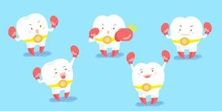 Encaixotamento bonito do desgaste de dente dos desenhos animados Fotografia de Stock Royalty Free