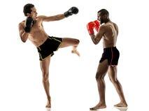 Encaixotamento do pugilista que kickboxing homens tailandeses muay do kickboxer foto de stock