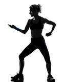 Encaixotamento kickboxing do pugilista da postura da mulher fotografia de stock
