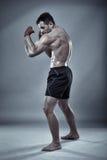 Encaixotamento tailandês da sombra do lutador de Muay Fotos de Stock