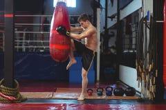 Encajonamiento practicante del boxeador con el saco de arena Fotos de archivo libres de regalías