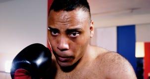 Encajonamiento practicante del boxeador de sexo masculino en estudio de la aptitud metrajes