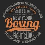 Encajonando, tipografía del club de la lucha para la impresión de la camiseta, cartel Gráficos de la camiseta ilustración del vector