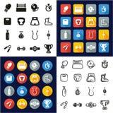 Encajonando todos en los iconos uno negros y el diseño plano del color blanco fijado a pulso Imagen de archivo