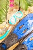 Encalhe, as folhas da palmeira, a areia, as aletas, os óculos de proteção e o tubo de respiração Fotos de Stock Royalty Free