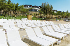 Encalhe com sunbeds brancos em seguido em um Sandy Beach Imagens de Stock Royalty Free