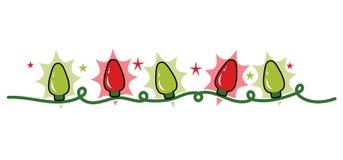 Encalhe a corda de luzes, de vermelho e de verde de Natal do feriado Fotos de Stock Royalty Free
