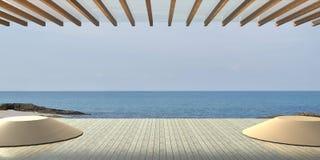 Encalhe o contemporâneo luxuoso e moderno na opinião do mar Imagem de Stock